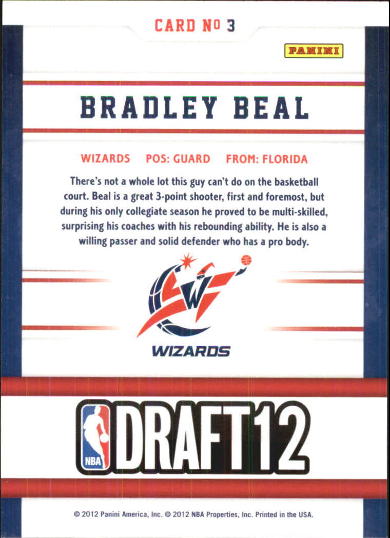 2012-13 Hoops Draft Night #3 Bradley Beal back image