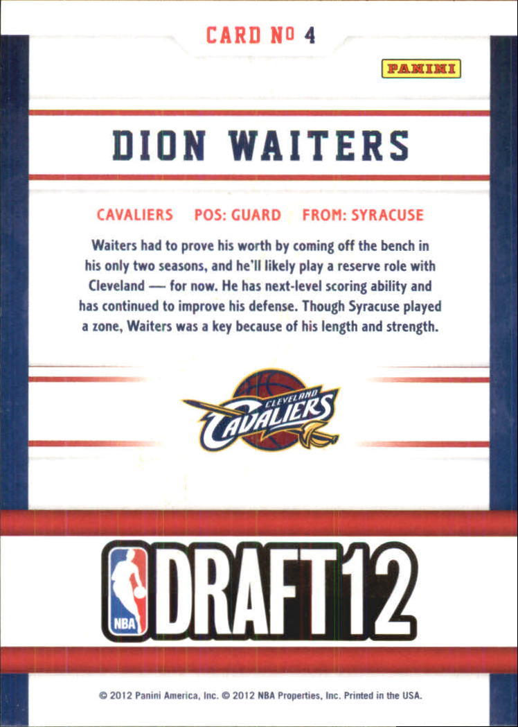 2012-13 Hoops Draft Night #4 Dion Waiters back image