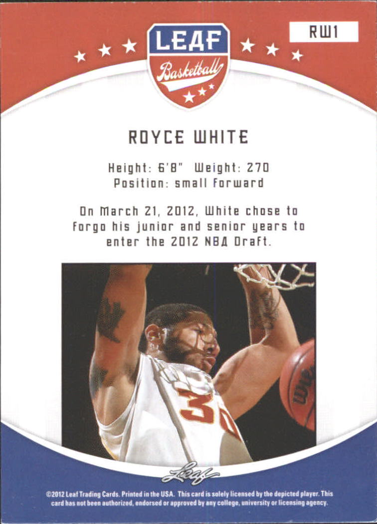 2012-13 Leaf #RW1 Royce White back image