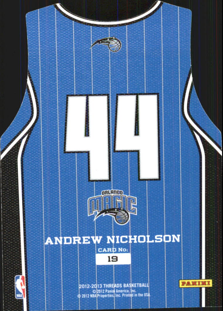 2012-13 Panini Threads Rookie Team Threads #19 Andrew Nicholson back image