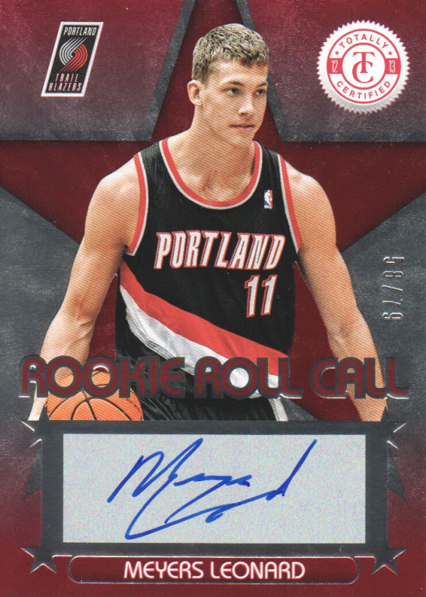 2012-13 Totally Certified Rookie Roll Call Autographs Red #24 Meyers Leonard/79