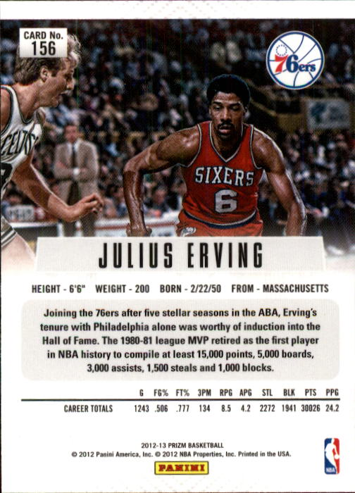 2012-13 Panini Prizm #156 Julius Erving back image