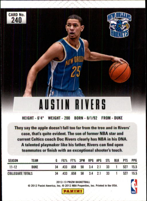 2012-13 Panini Prizm #240 Austin Rivers RC back image