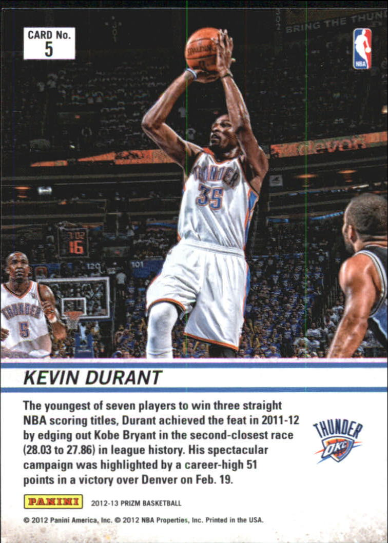 2012-13 Panini Prizm Downtown Bound #5 Kevin Durant back image