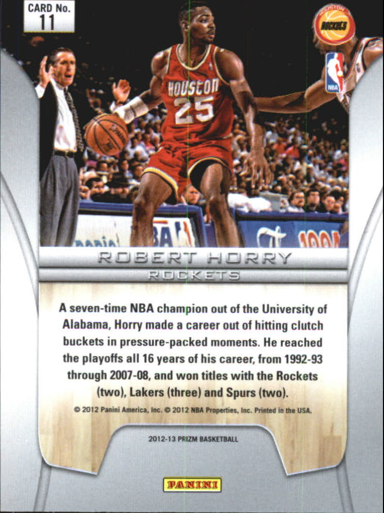 2012-13 Panini Prizm Finalists #11 Robert Horry back image