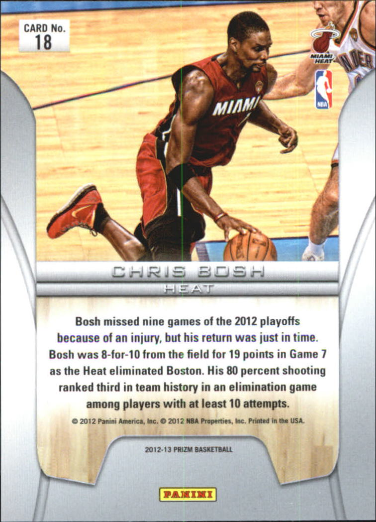 2012-13 Panini Prizm Finalists #18 Chris Bosh back image