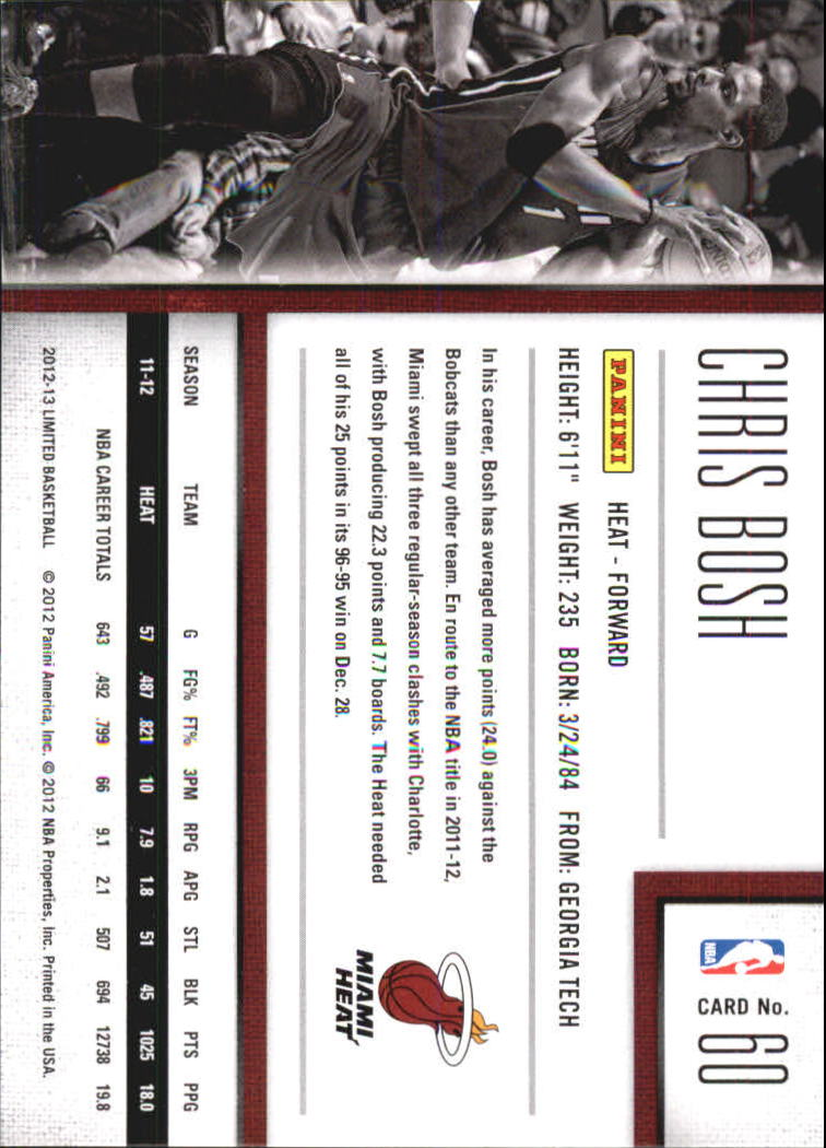 2012-13 Limited #60 Chris Bosh