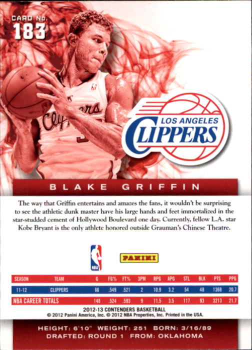 2012-13 Panini Contenders Silver #183 Blake Griffin