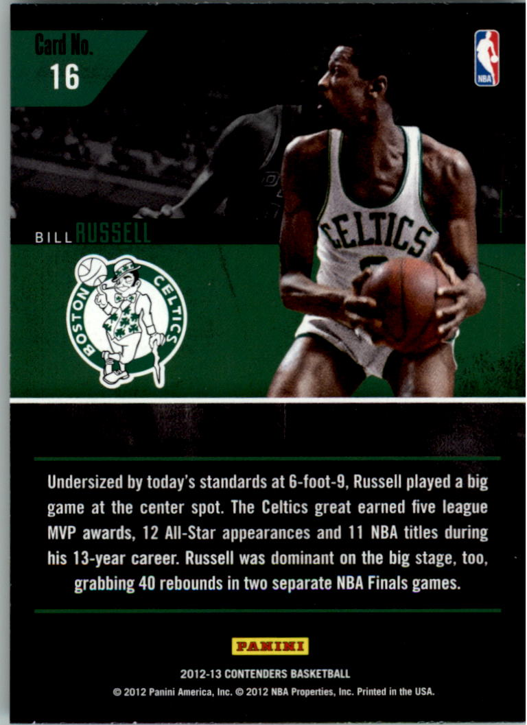 2012-13 Panini Contenders Legendary Contenders #16 Bill Russell