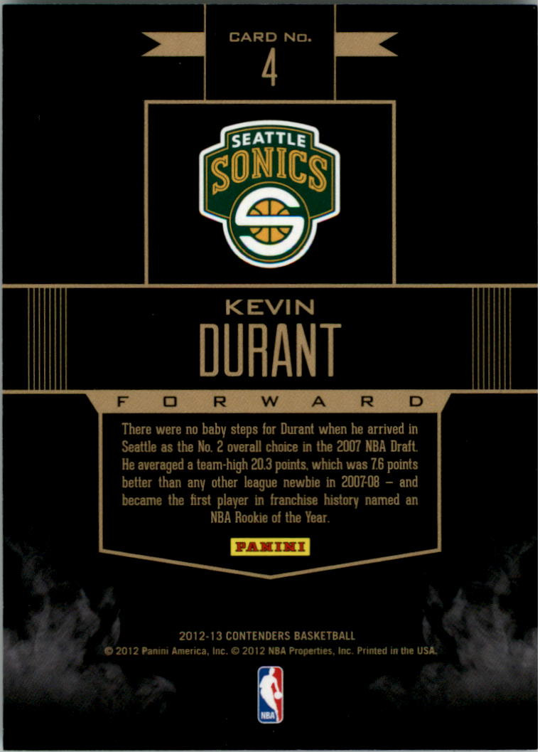 2012-13 Panini Contenders Rookie Remembrance #4 Kevin Durant