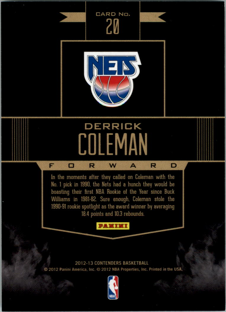 2012-13 Panini Contenders Rookie Remembrance #20 Derrick Coleman