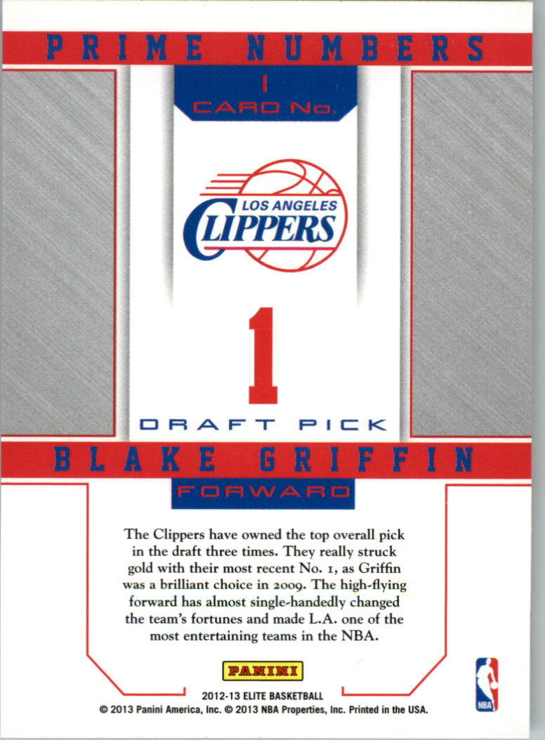 2012-13 Elite Prime Numbers #1 Blake Griffin