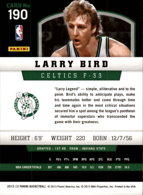 2012-13 Panini #190 Larry Bird