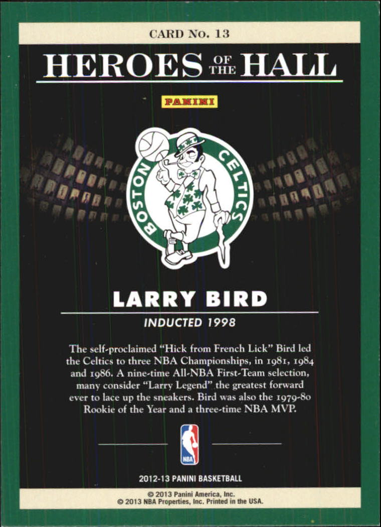 2012-13 Panini Heroes of the Hall #13 Larry Bird