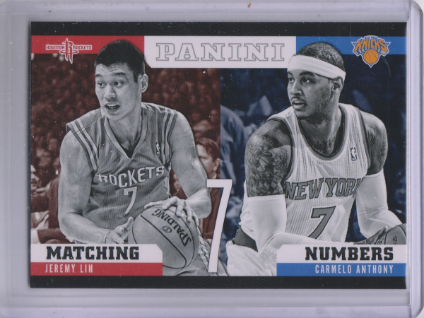 2012-13 Panini Matching Numbers #23 Carmelo Anthony/Jeremy Lin
