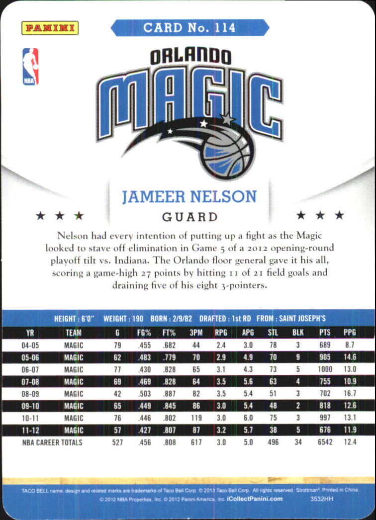 2012-13 Hoops Taco Bell #114 Jameer Nelson