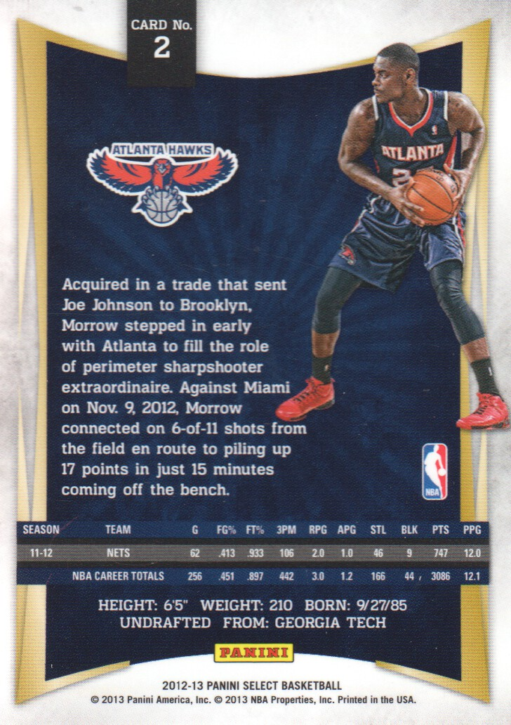 2012-13 Select #2 Anthony Morrow back image