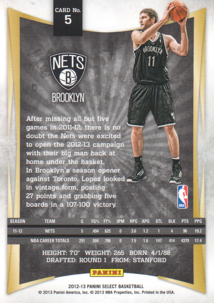 2012-13 Select #5 Brook Lopez back image