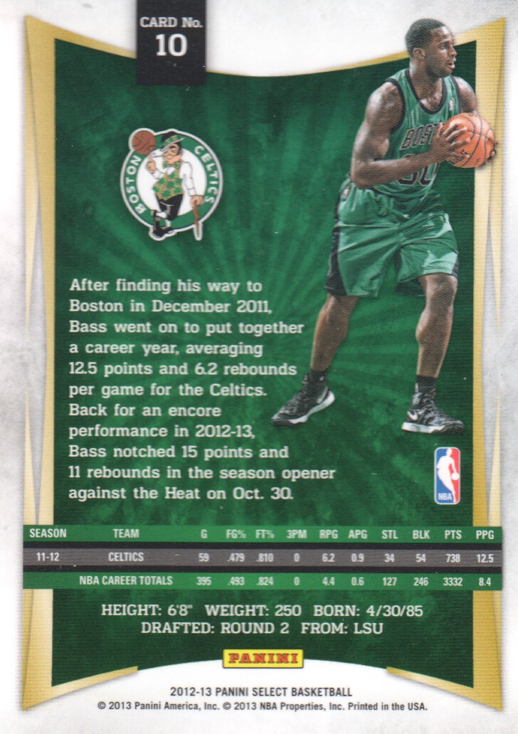 2012-13 Select #10 Brandon Bass back image