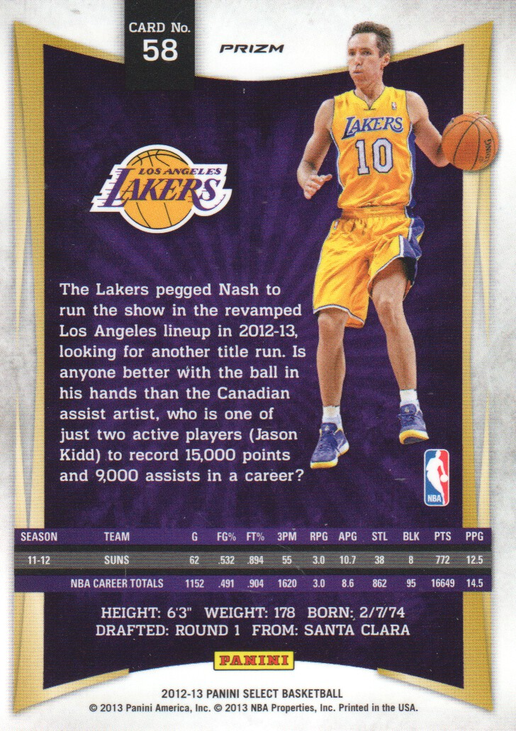 2012-13 Select Prizms #58 Steve Nash back image