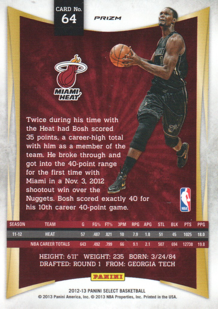 2012-13 Select Prizms #64 Chris Bosh