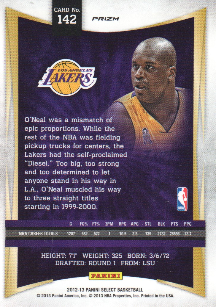 2012-13 Select Prizms #142 Shaquille O'Neal