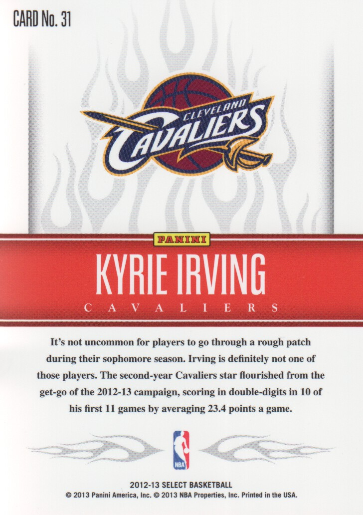 2012-13 Select Hot Rookies #31 Kyrie Irving back image
