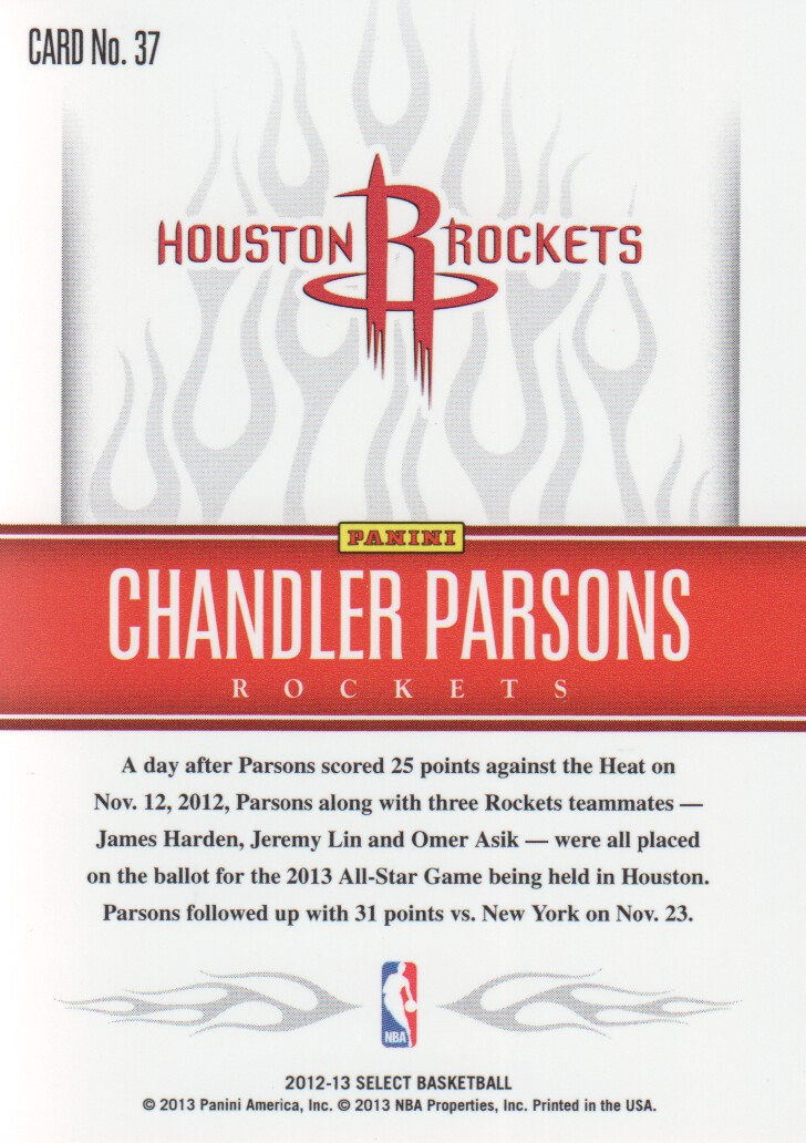 2012-13 Select White Hot Rookies #37 Chandler Parsons