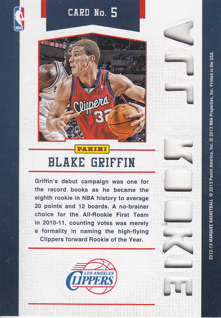 2012-13 Panini Marquee All-Rookie Team Laser Cut #5 Blake Griffin