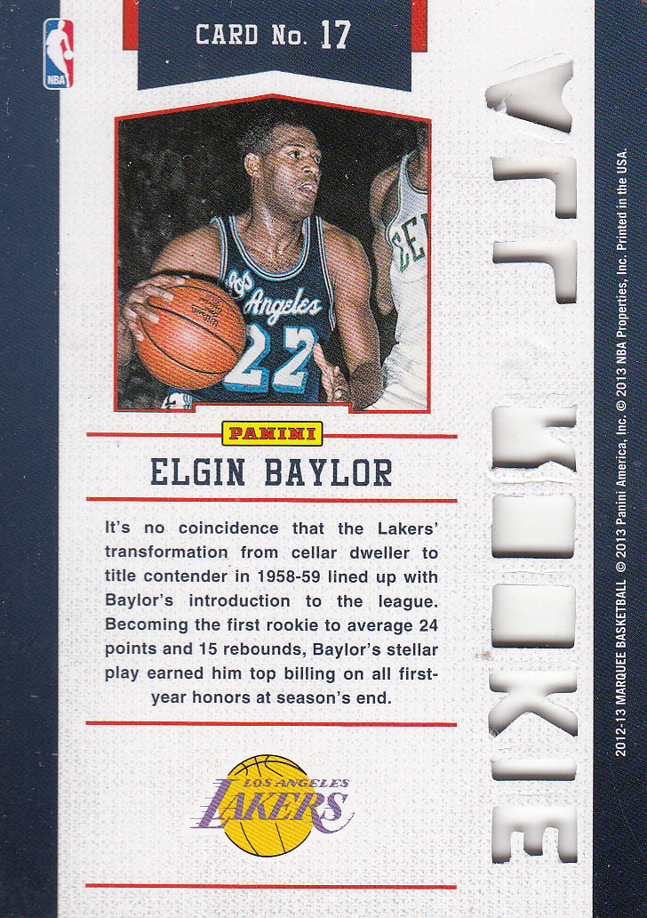 2012-13 Panini Marquee All-Rookie Team Laser Cut #17 Elgin Baylor