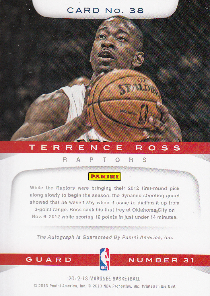 2012-13 Panini Marquee Rookie Signatures #38 Terrence Ross