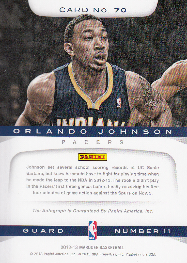 2012-13 Panini Marquee Rookie Signatures #70 Orlando Johnson