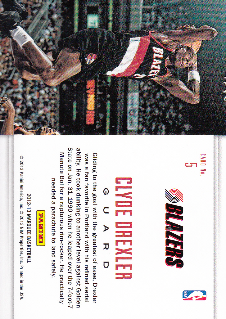 2012-13 Panini Marquee Slam Dunk Legends #5 Clyde Drexler