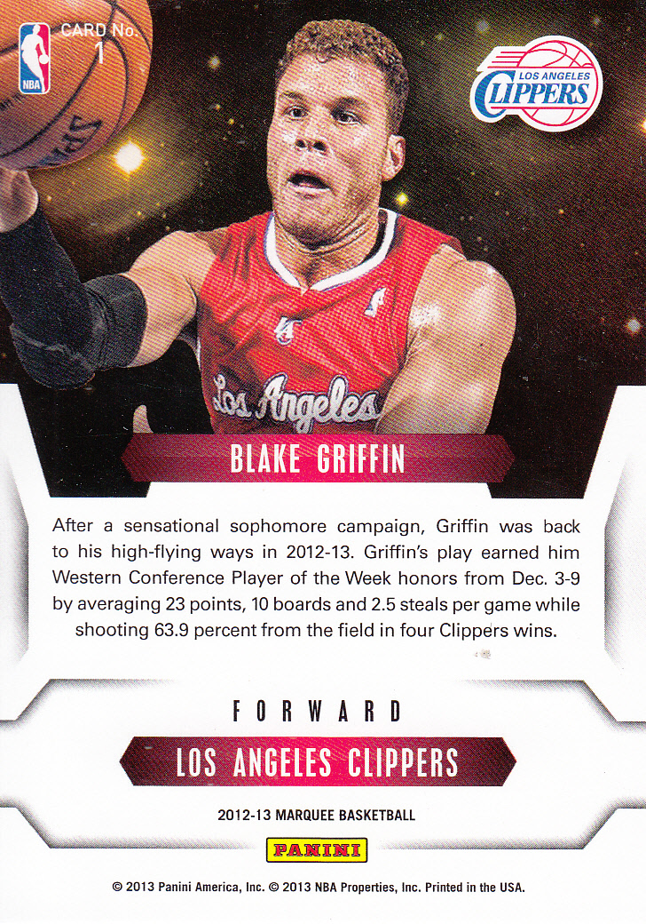 2012-13 Panini Marquee Stars of the Night #1 Blake Griffin