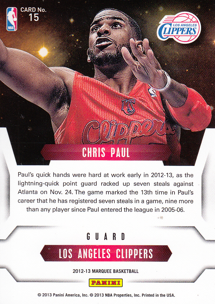 2012-13 Panini Marquee Stars of the Night #15 Chris Paul