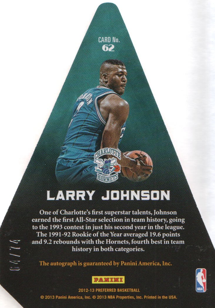 2012-13 Panini Preferred #62 Larry Johnson PC AU/74 EXCH back image