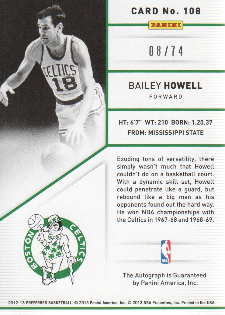 2012-13 Panini Preferred #108 Bailey Howell PS AU/74 back image