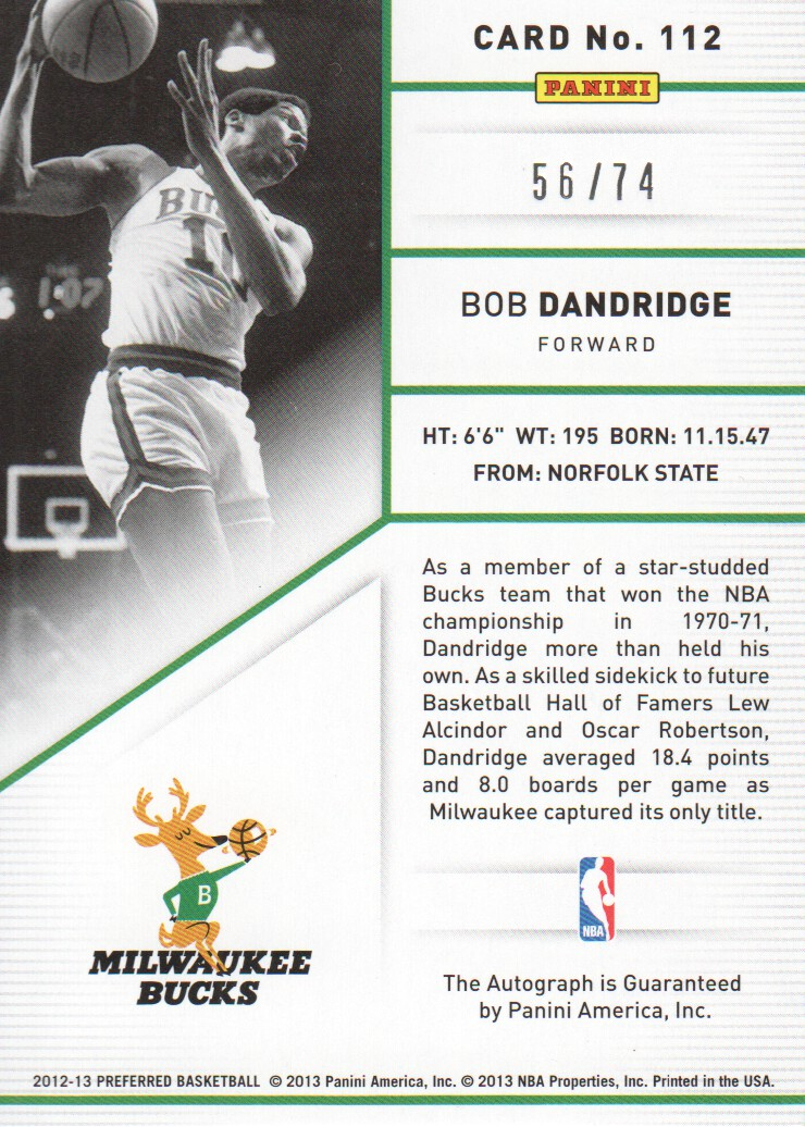 2012-13 Panini Preferred #112 Bob Dandridge PS AU/74