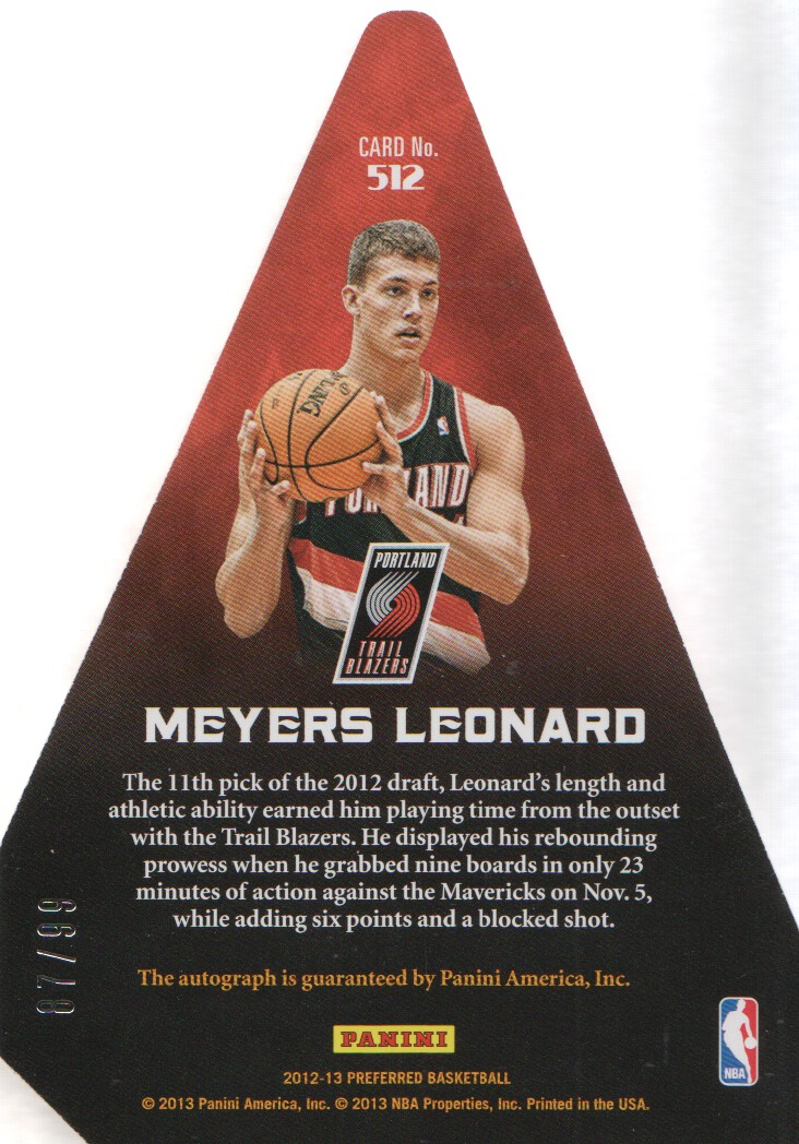 2012-13 Panini Preferred #512 Meyers Leonard PC AU/99 back image
