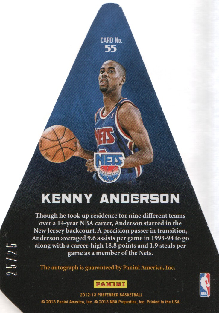 2012-13 Panini Preferred Silver #55 Kenny Anderson PC AU/25