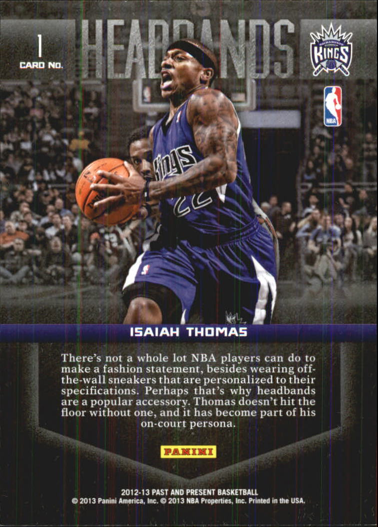 2012-13 Panini Past and Present Headbands #1 Isaiah Thomas back image