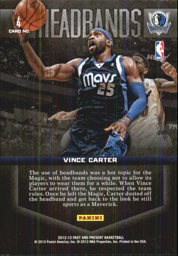 2012-13 Panini Past and Present Headbands #4 Vince Carter back image