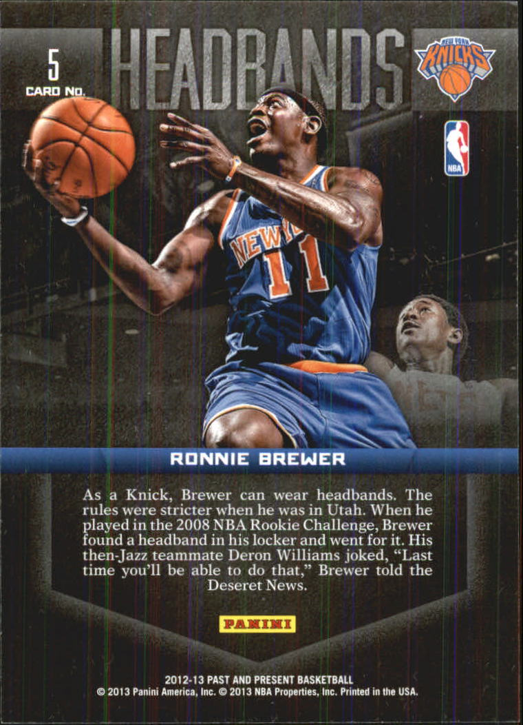 2012-13 Panini Past and Present Headbands #5 Ronnie Brewer back image