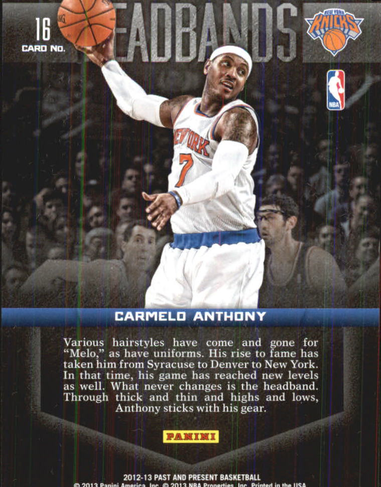 2012-13 Panini Past and Present Headbands #16 Carmelo Anthony back image