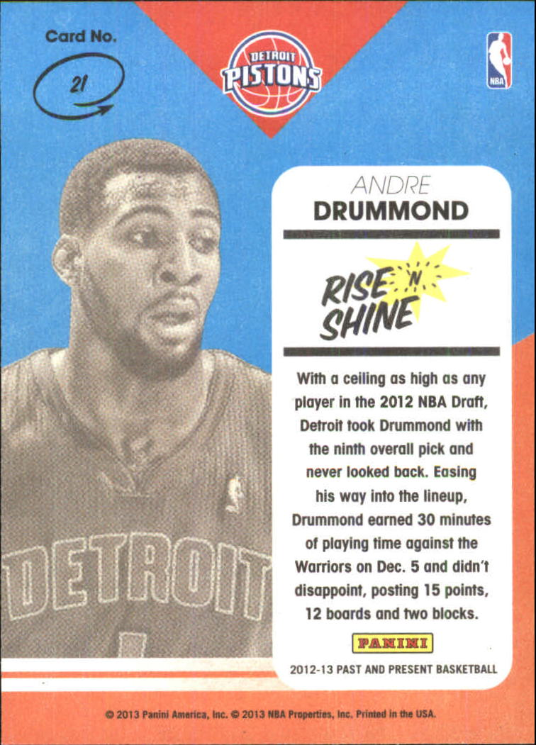 2012-13 Panini Past and Present Rise N Shine #21 Andre Drummond