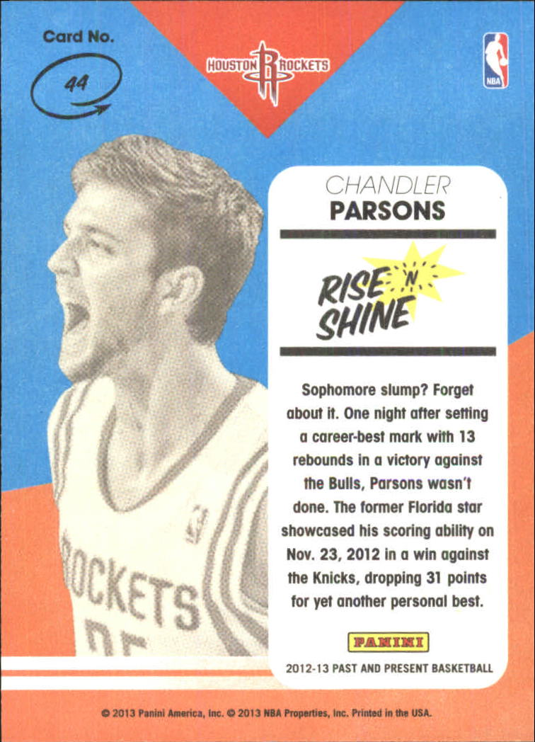 2012-13 Panini Past and Present Rise N Shine #44 Chandler Parsons
