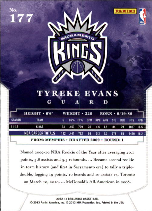 2012-13 Panini Brilliance #177 Tyreke Evans