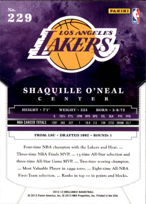 2012-13 Panini Brilliance #229 Shaquille O'Neal