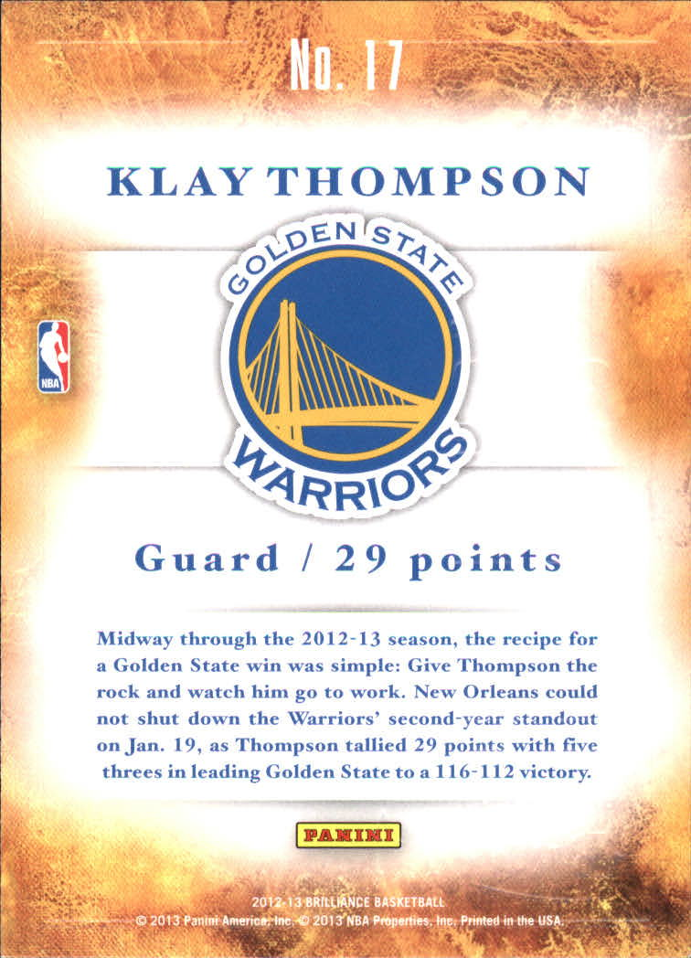 2012-13 Panini Brilliance Scorers Inc. #17 Klay Thompson