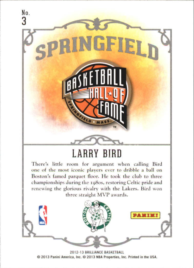 2012-13 Panini Brilliance Springfield #3 Larry Bird
